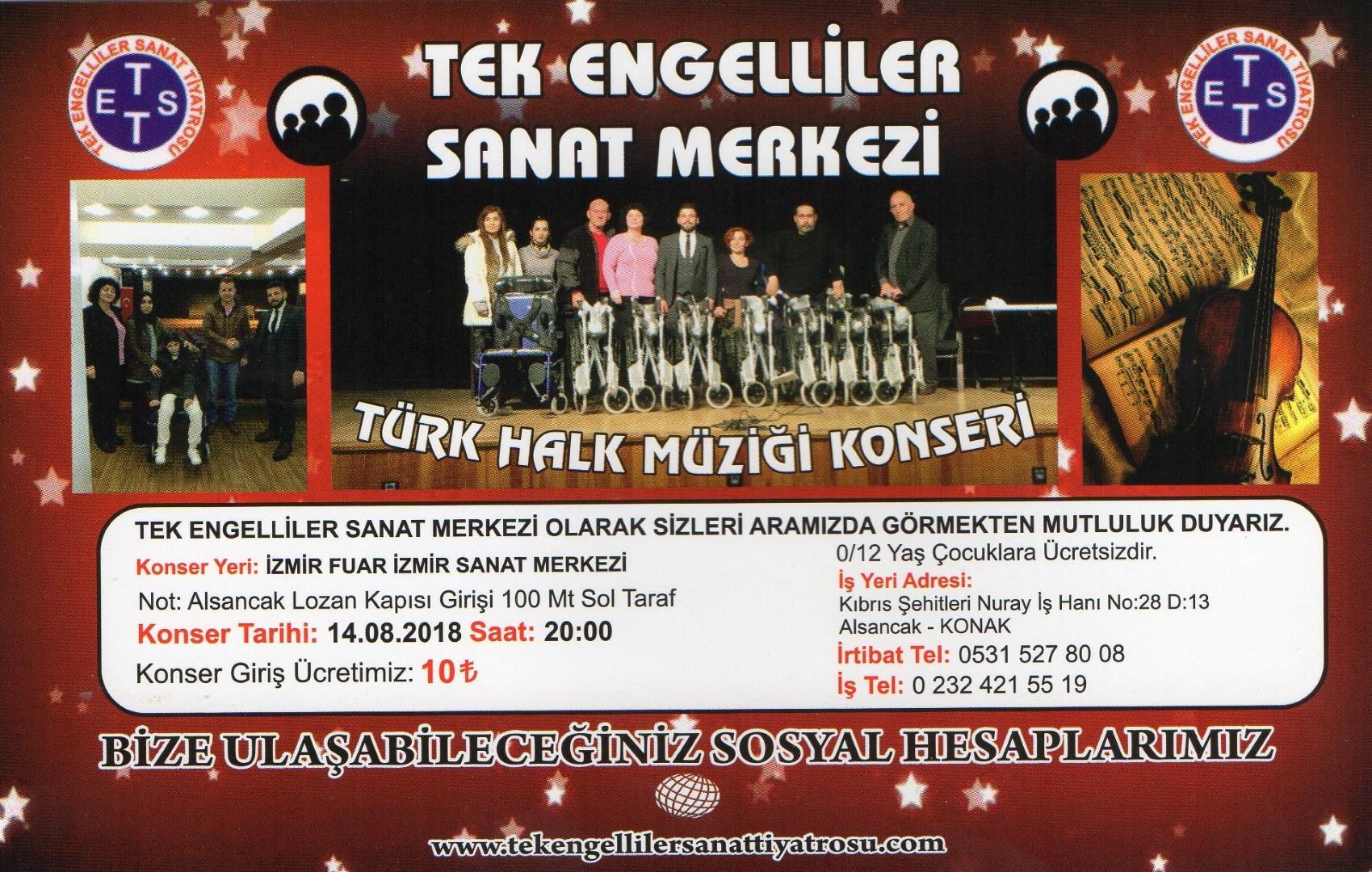 İzmir Tek Engelliler Sanat Tiyatrosu Türk Halk Müziği Konseri